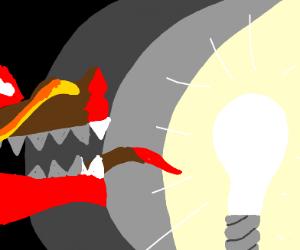 Chinese dragon staring at light bulb