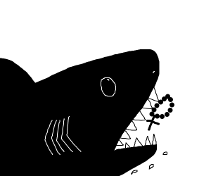 Shark eating rosary in famous movie sequel