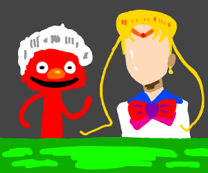 White haired Elmo and faceless Sailor Moon