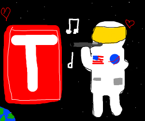 Astronaut(?) Playing flute loving T-Series