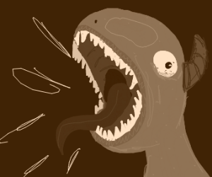 Monster's mouth is yelling and it's really ma