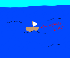 a small boat on the ocean