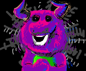 Horned demon barney stares into your soul