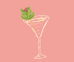 Martini with leaves