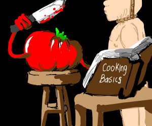 evil tomato hangs and cooks someone