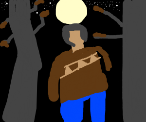 A person in the forest att night