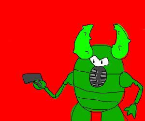 green one-eyed Pinsir holding a gun