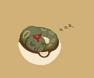 Caterpie asleep in Pokeball