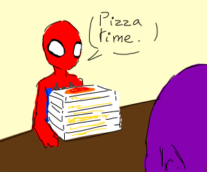 spider-man offers thanos pizza