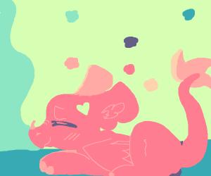 Pink dragon sleeping