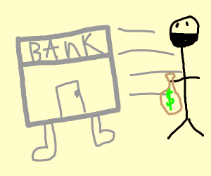 Bank runs away from rober