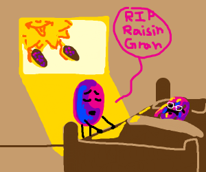 A grape watchs an old grape die