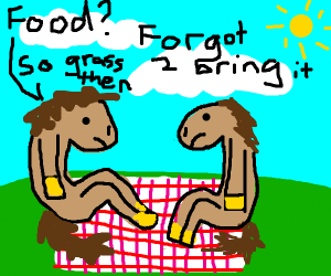 Two horses go to a picnic, but forget food