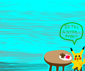 picky pikachu asks is his food is gluten free