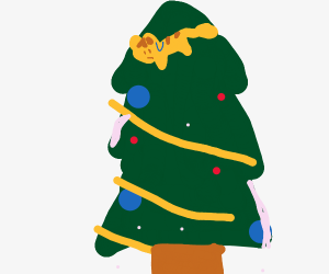 Cat stuck in a Christmas tree