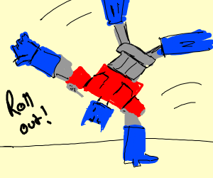 Optimus Prime doing a Cartwheel