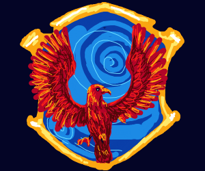 phoenix coming from magic portal in shield