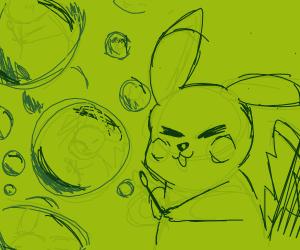Pikachu blowing bubbles