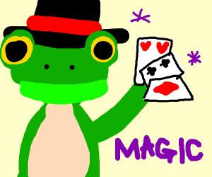 Frog doing a magic trick