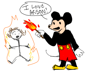 Mickey Mouse sets people on fire
