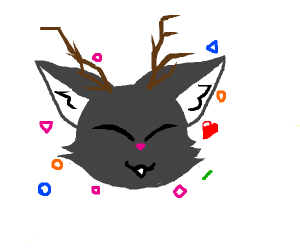 a grey cat with antlers