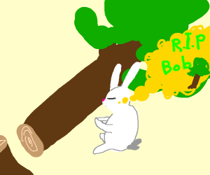 bunny mourning lose of a cut down tree