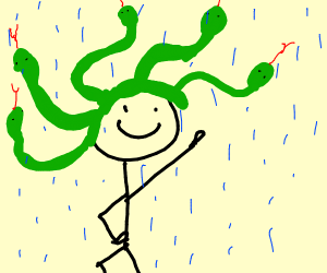 guy with snake hair dancing in the rain