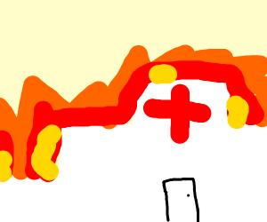burning hospital