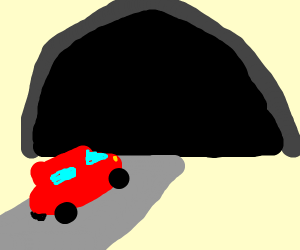 car driving into ominous darkness