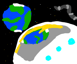 celebrating astronaut looking at the earth