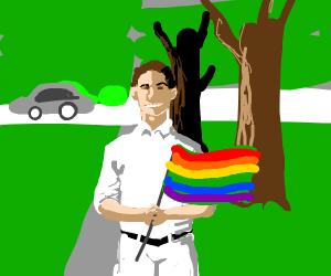 YouKnowIHadToDoItToEm Guy holding LGBT flags
