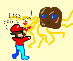 mario in love with giant spaghetti