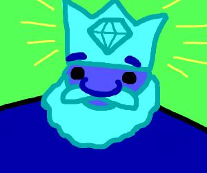 blue king  wears diamond crown