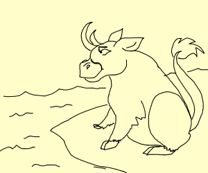 bull sitting on a cliff over water