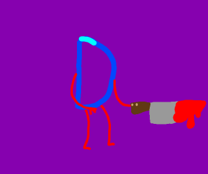Drawception D holding bloody knife