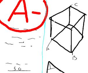 A- on a geometry test