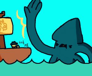 The kraken attacking a ship