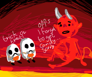 Trick or treaters in Hell