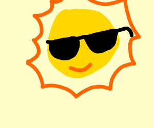 The sun wears sunglasses