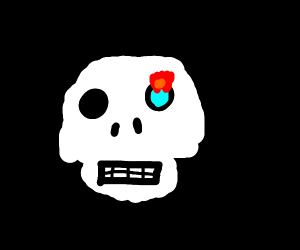 Skeleton head with one flaming blue eye