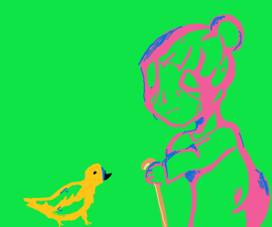 Old lady with cane next to yellow bird