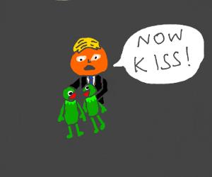 Trump making his Kermit plushies kiss