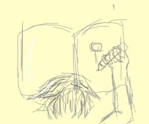 Sketching a stick figure in a sketch book