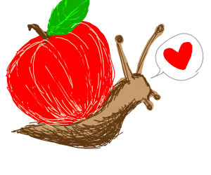 Snail loves apple... a bit too much.