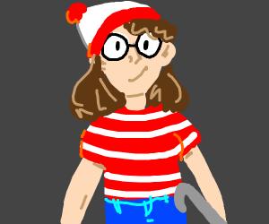 girl dressing up as waldo (where's waldo)
