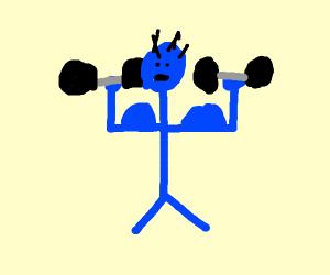 Muscular blue man