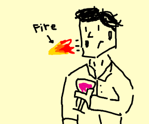 Man spits fire and holds wineglass