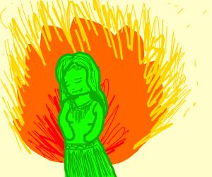 Burning green woman.