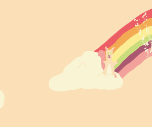 Squirrel on a cloud at the end of a rainbow
