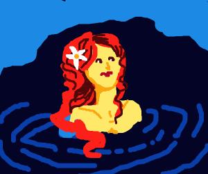 Red Hair Woman in Lake